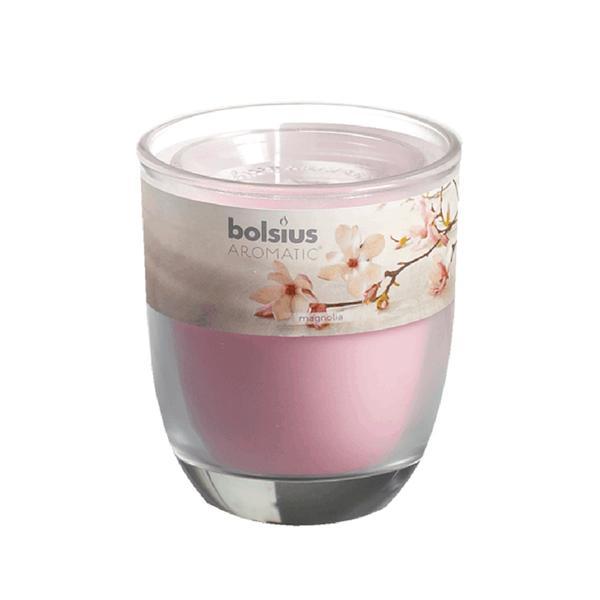 Svíčka ve skle Bolsius, 7 x 7,9 cm, magnolie