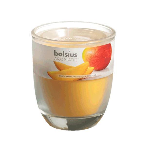 Svíčka ve skle Bolsius, 7 x 7,9 cm, mango