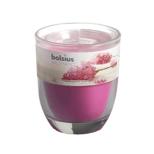 Svíčka ve skle Bolsius, 7 x 7,9 cm, šeřík