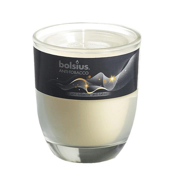 Svíčka ve skle Bolsius, 7 x 7,9 cm, antitabák