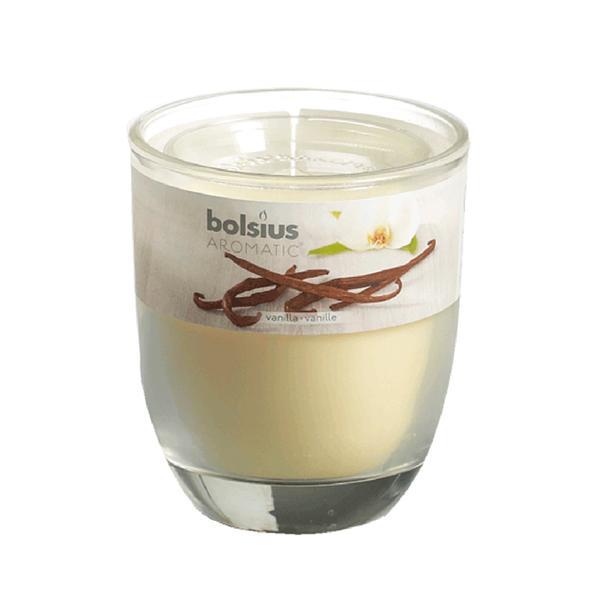 Svíčka ve skle Bolsius, 7 x 7,9 cm, vanilka