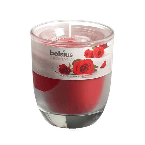 Svíčka ve skle Bolsius, 7 x 7,9 cm, růže