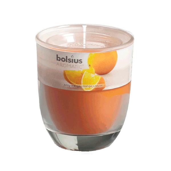 Svíčka ve skle Bolsius, 7 x 7,9 cm, pomeranč