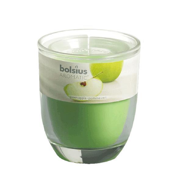 Svíčka ve skle Bolsius, 7 x 7,9 cm, jablko