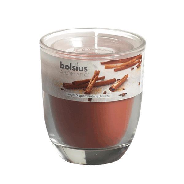 Svíčka ve skle Bolsius, 7 x 7,9 cm, koření
