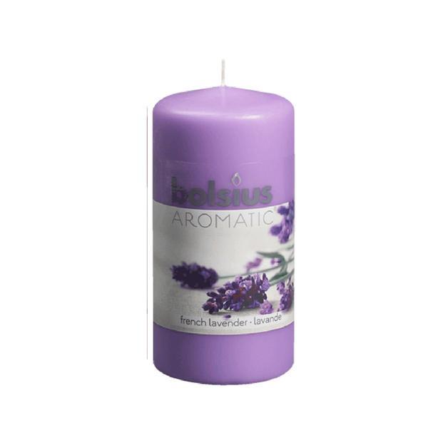 Svíčka válec Bolsius 12 x 6 cm, levandule