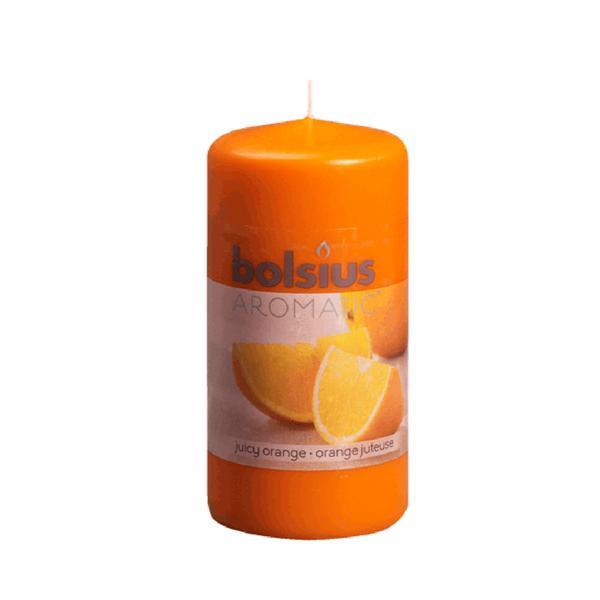 Svíčka válec Bolsius 12 x 6 cm, pomeranč