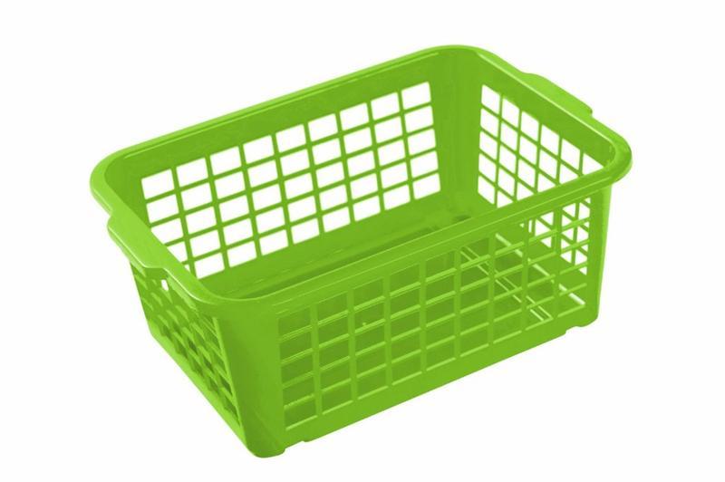 Košík stohovatelný, plast, světle zelený