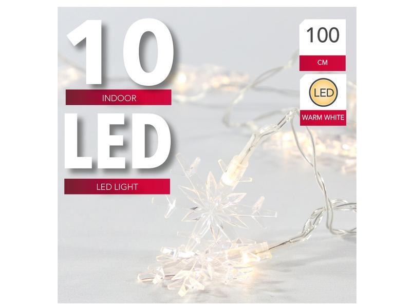 ŘETĚZ 10 SNĚHOVÝCH VLOČEK, LED