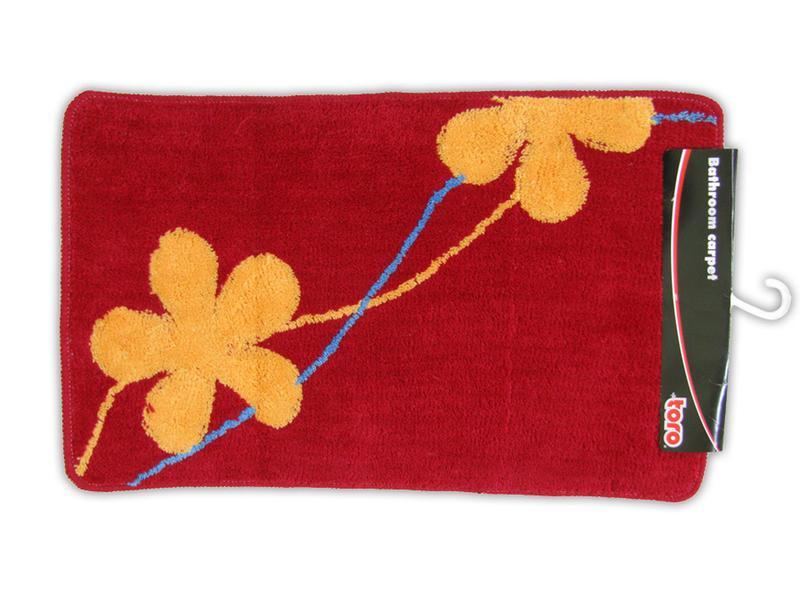 koupelnová předložka červená s oranžovými květy,  5é x 80 cm