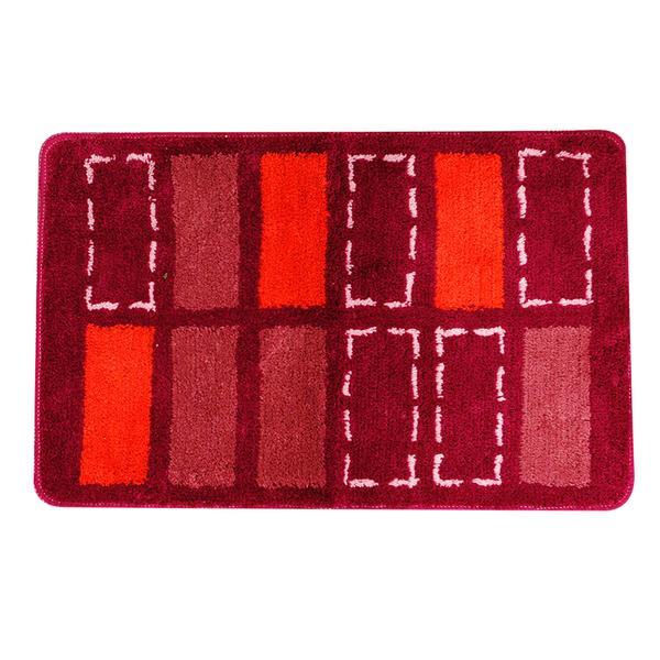 Předložka koupelnová, červená, obdélníky, 50x80cm