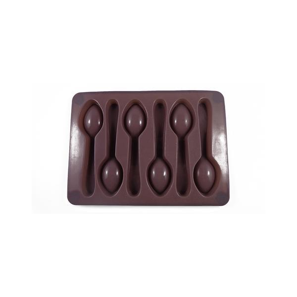 Forma silikonová na led/čokoládu,tvar lžička,šedo-hnědá