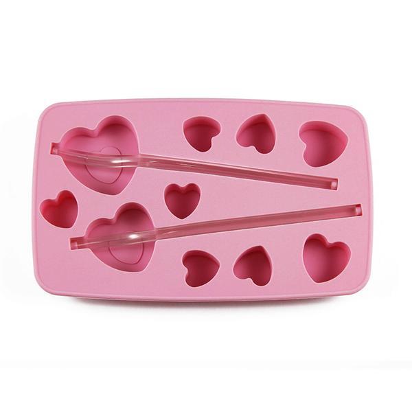 Forma silikon na led s brčkem, srdce, růžová