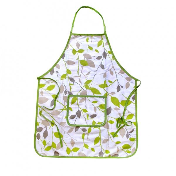 Zástěra kuchyňská, motiv zelené květy