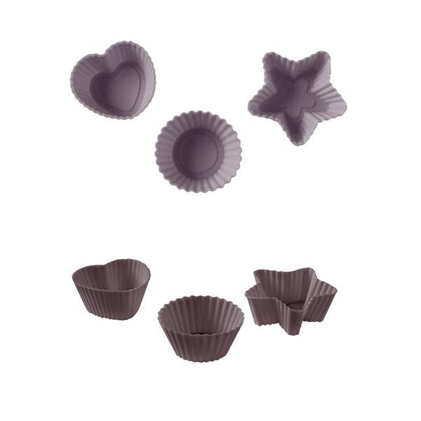 Muffiny mini silikon, 32 ks, šedo-hnědá