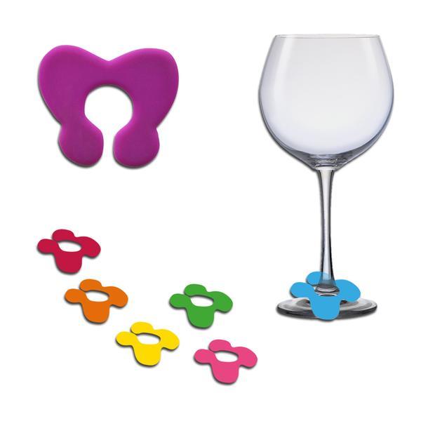 Rozlišovač sklenic, set 6 ks, silikon