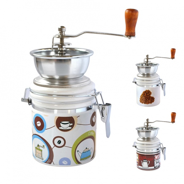 Mlýnek na kávu, porcelán/nerez, motiv kávy