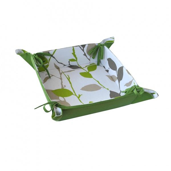 Košík na chléb, bavlna, motiv zelené květy