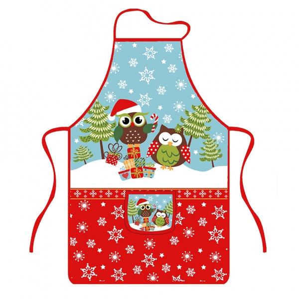 Zástěra kuchyňská, sovy vánoce, polyester