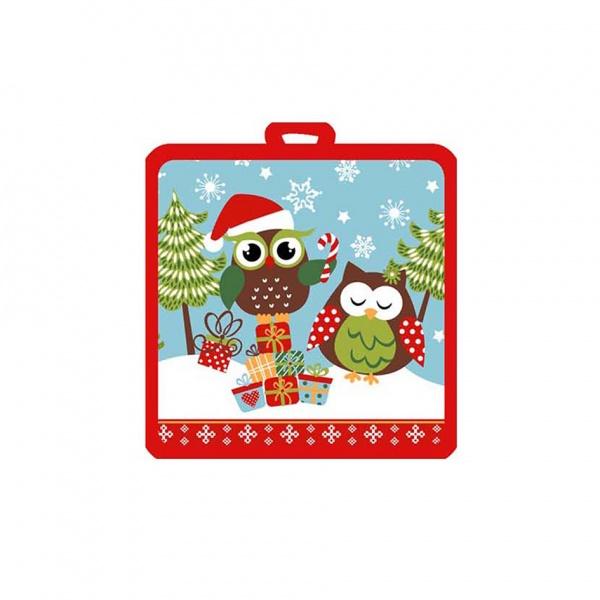 Kuchyňská chňapka, malá, sovy vánoce