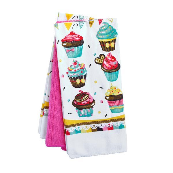 Kuchyňské utěrky, 3 ks, dekor dortíků