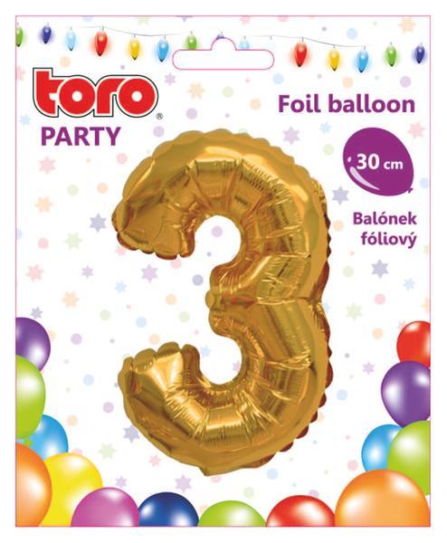 """Balónek číslice """"3"""", 30 cm, assort"""