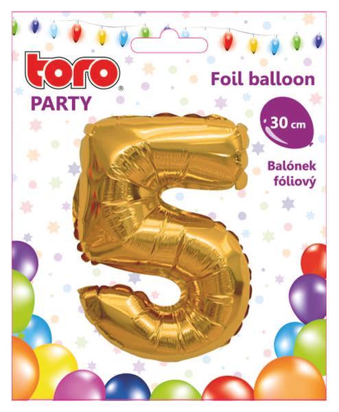 """Balónek číslice """"5"""", 30 cm, assort"""