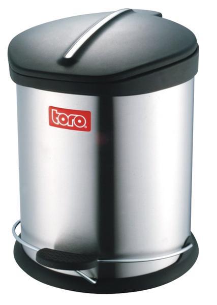 Koš na odpadky Toro, nerez s plast. víkem, 5 l