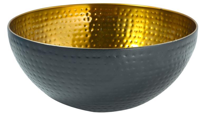 Miska nerez, černá/zlatá, průměr 29 cm