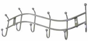 Věšák kovový - 6 háčků, vlnka