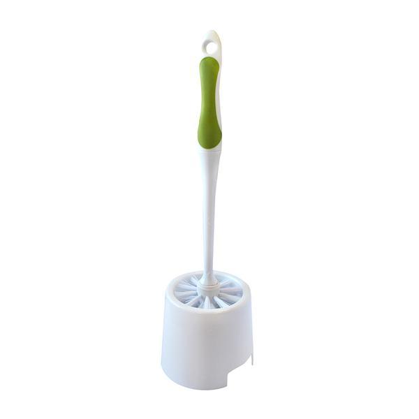 WC štětka s miskou, bílá/zelená