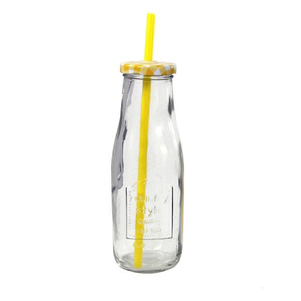 Láhev s víčkem a brčkem, 400 ml, assort