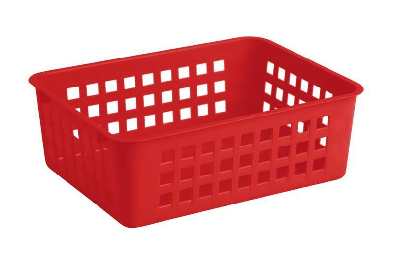 Košík stohovatelný, plast, červený