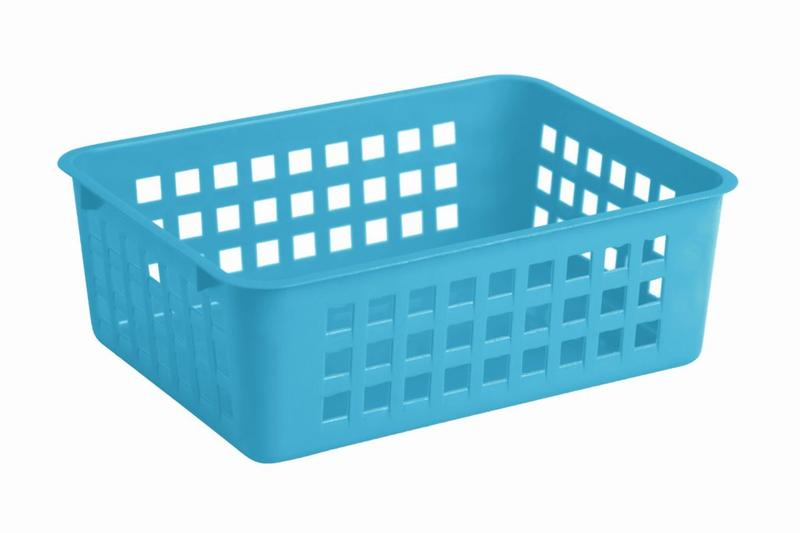Košík stohovatelný, plast, modrý