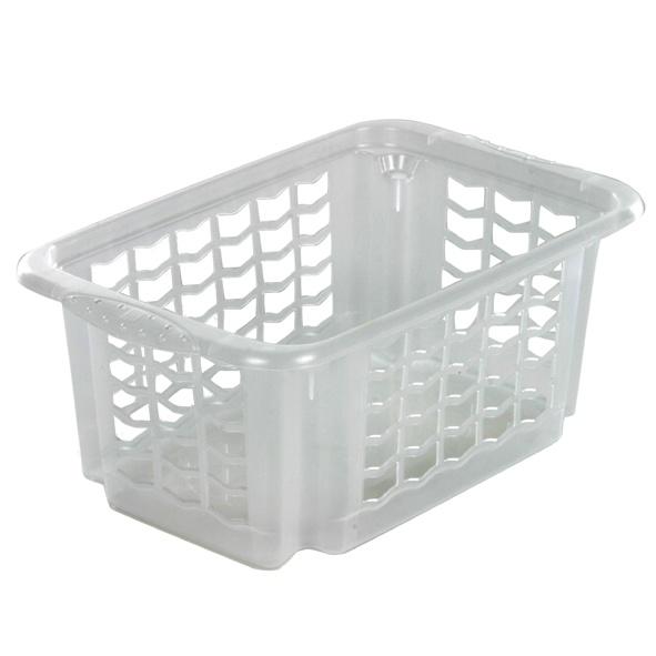 Košíček stohovatelný, plast, transparentní