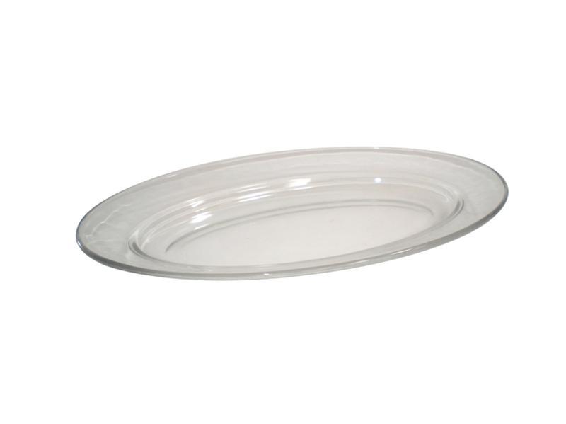 talíř oválný 26 x 16,8 x 3 cm sklo čirá