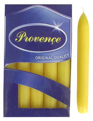 Svíčka bistro 10 ks žlutá,  2 x 17 cm