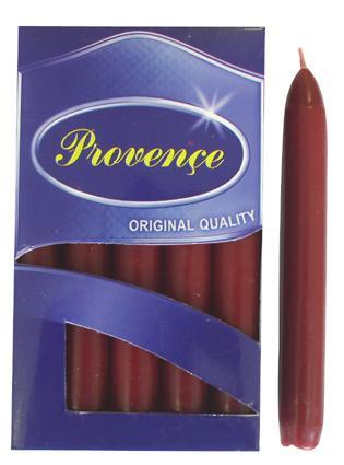 Svíčka bistro 10 ks tmavě červená,  2 x 17 cm
