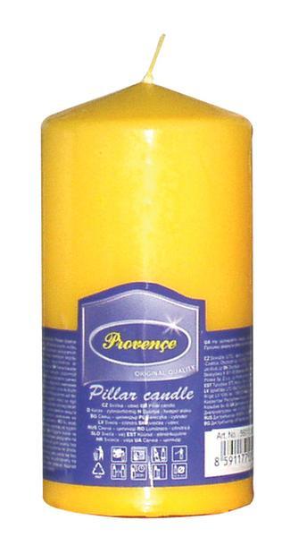 Svíčka parafín válec žlutá,  6, 3 x 12, 5 cm