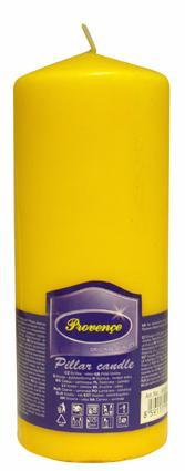 Svíčka parafín válec žlutá,  6, 3 x 16 cm