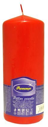 Svíčka parafín válec červená,  6, 3 x 16 cm