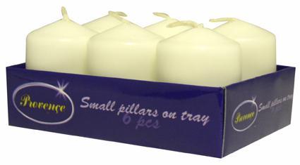 Svíčka válec 6 ks bílá,  3, 8 x 5, 5 cm