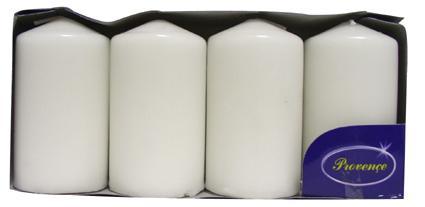 Svíčka válec bílá 4 ks,  5 x 9 cm