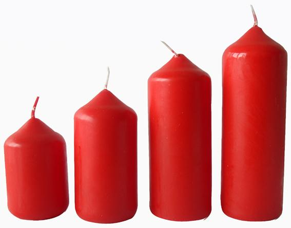 Svíčka adventní červená 4 velikosti,   průměr  4 cm