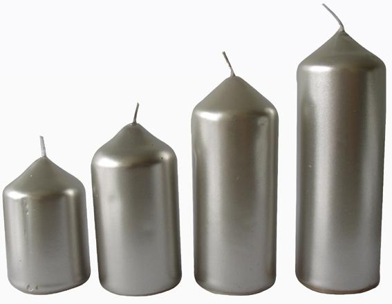 Svíčka adventní stříbrná 4 velikosti,   průměr  4 cm