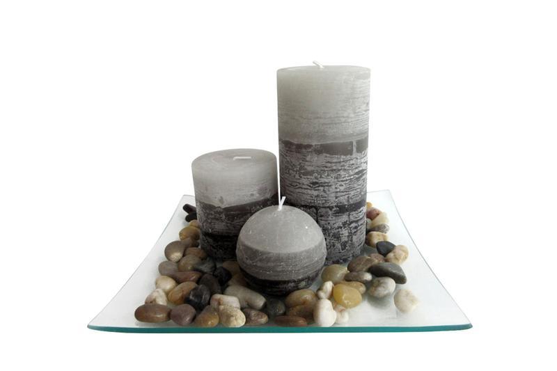 Dárkový set 3 svíček s vůní jasmín na skleněném podnosu s kameny