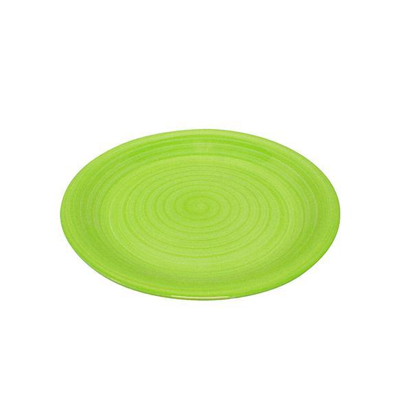 Talíř mělký s proužky, pr. 27 cm, keramika, zelený