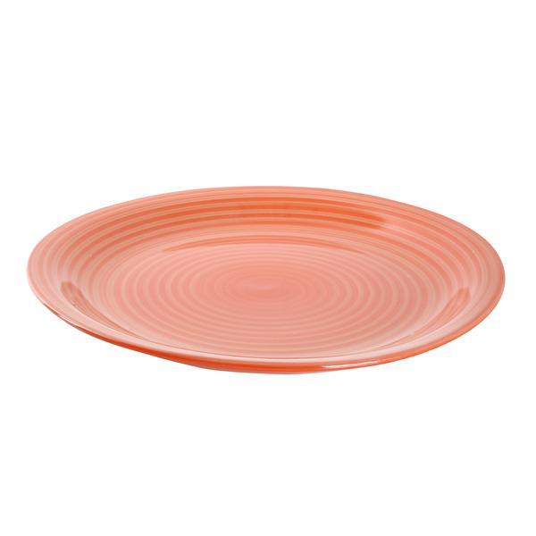 Talíř mělký s proužky, pr. 27 cm, keramika, oranžový