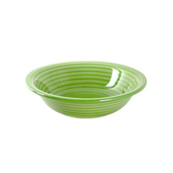 Talíř hluboký s proužky 22 cm, keramika, zelený