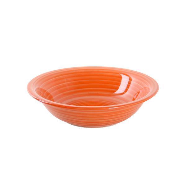 Talíř hluboký s proužky 22 cm, keramika, oranžový